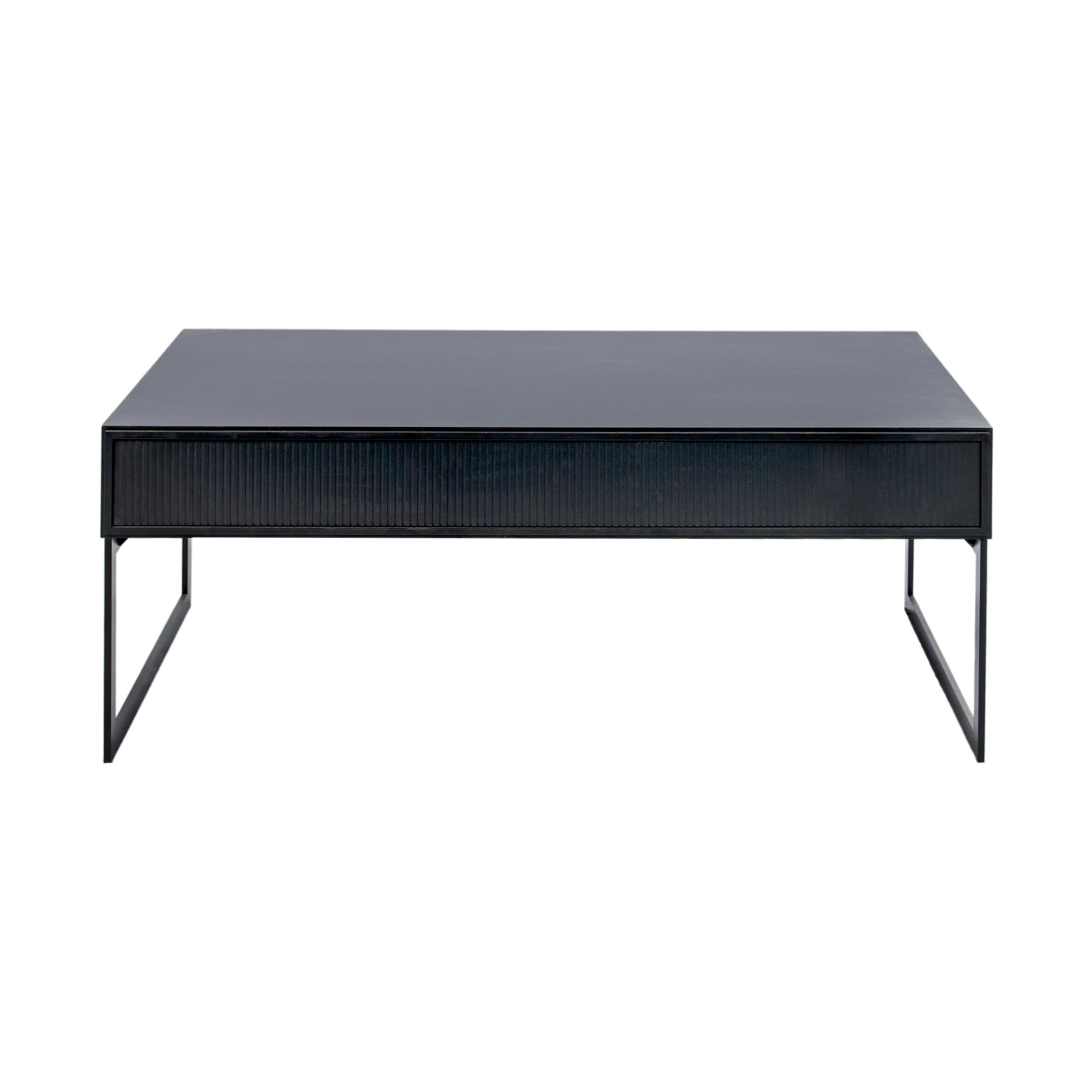 Line Soffbord rektangulärt Black med benställning framifrån - englesson.se