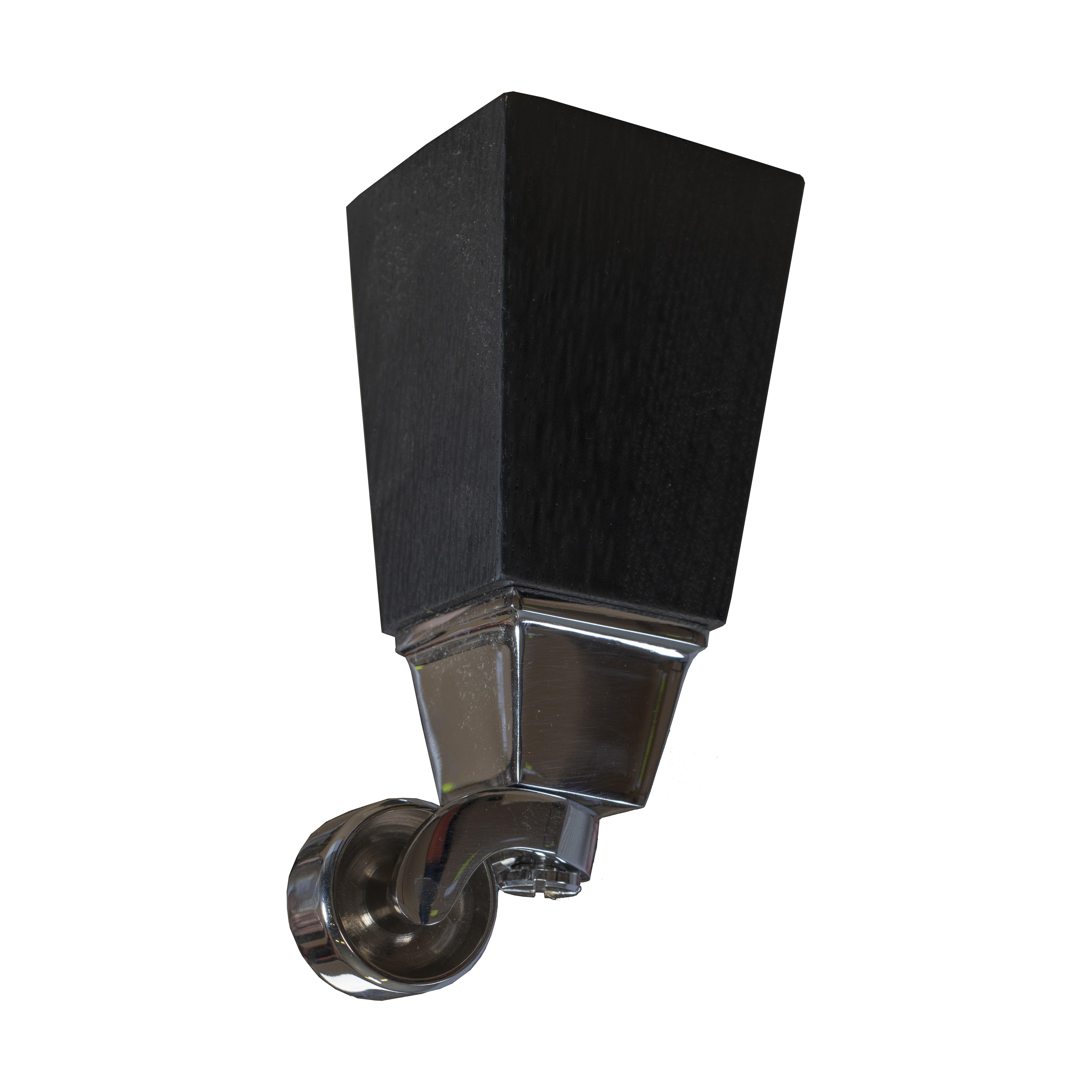 16 cm Carlton koniska ben i mörkbetsad ek med hjul i krom - englesson.se